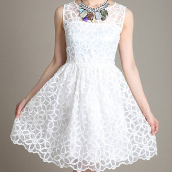 White lace dress women dress fashion dress Long sleveless dress--WD057