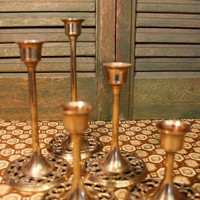 Graduated Brass Candlesticks / Solid Brass Candle Stick Holder Set