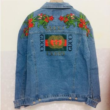 Gucci Trending Women Men Flower Embroidery Letter Print Casual Denim Cardigan Jacket Coat