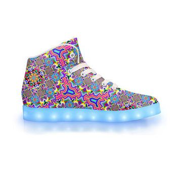8-Bit Trip by Sam and Cate Farrand - APP Controlled High Top LED Shoe