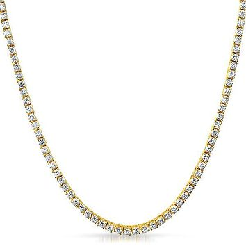 3mm Tennis Necklace with Swarovski Crystals in 18K Gold Plated