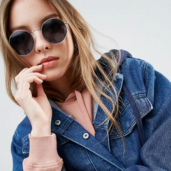 ASOS Small 90s Metal Round Sunglasses at asos.com