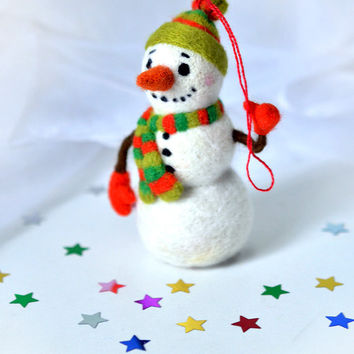 "Needle felted christmas toy ""Snowman"""