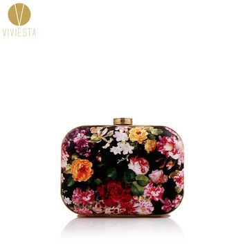 FLORAL PRINT BOX CLUTCH - Women's Spring Summer Fashion Famous Brand Flower Black Hard Case Evening Party Chain Bag Minaudiere
