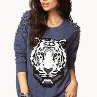 FOREVER 21 Standout Spiked Sweater Blue/White Large