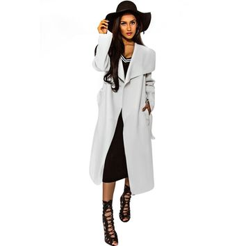 Chic Turn Down Collar Long Sleeve Pure Color Lace Up Wollen Coat For Women