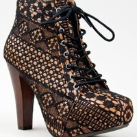 Qupid PUFFIN-39 Floral Lace Fabric Platform Chunky High Heel Ankle Boot Booty