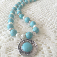 Turquoise Gemstone Necklace, Turquoise Howlite Gemstone Necklace, Howlite Beaded Necklace, Turquoise Beaded Necklace, Gemstone Necklace,