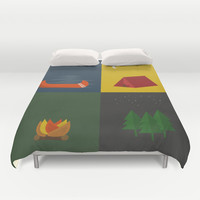 Camping Series: Canoe, Tent, Fire, Trees Duvet Cover by brittcorry