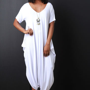 Baggy Drop Crotch Short Sleeve Jumpsuit
