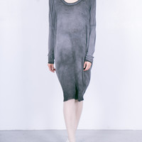 Silk & Jersey Raglan Dress Dark Wash