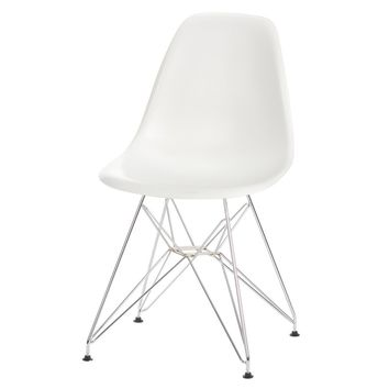 Eames Style Side Chair, White with Metal Base
