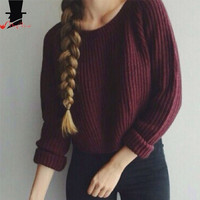 Autumn Winter Women's Pullovers Round Collar Long Sleeve Wine Red Knitted Sweater [7672515078]