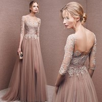 High Quality Nude Pink Long Sleeve Prom Dress Long Front Slit French Lace Winter Bridesmaid Dresses 2017 Formal Dress