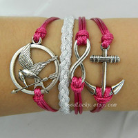 Unisex Fashion silver 8 infinity,anchor,Hunger Games Mocking Bird bracelet-rosybrown and whitesmoke wax rope leather braided bracelet