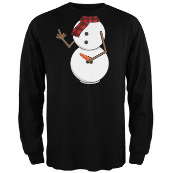 Middle Finger Snowman Body Costume Black Long Sleeve T-Shirt