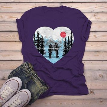 Men's Hipster Hiker T Shirt Hiking Love Graphic Tee Hand Drawn Mountains Tshirt Couple