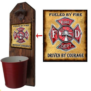 Firefighter Bottle Opener and Cap Catcher, Wall Mounted