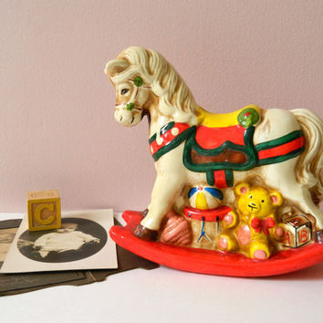 Vintage Rocking Horse Coin Bank. Children's Bedroom or Baby Nursery Decor. Nostalgic Edwardian or Victorian Style Christmas Decoration.