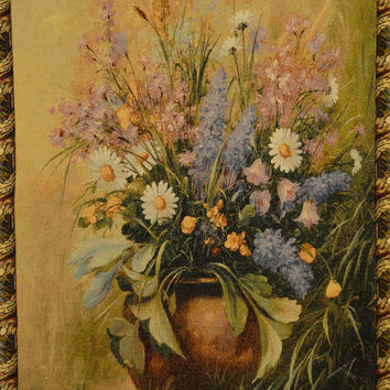 Tache 33 x 24 Inch Beautifully Captured Floral Tapestry Wall Hanging