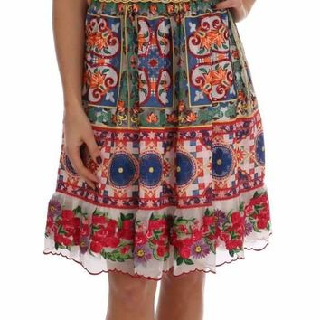 Dolce & Gabbana Multicolor Sicily Print Embrodered Floral Dress
