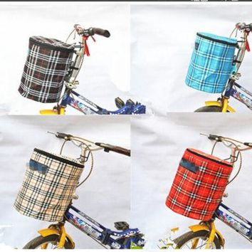 New Bike Bicycle Front Folded Handlebar Canvas Storage Basket Carrier
