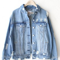 Destroyed Classic Denim Jacket