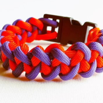 Paracord Bracelet- Para-Band- Paracord Survival Bracelet- Camping Gear- 550 paracord- Military Bracelet- Orange & Purple- Gifts for Him/Her