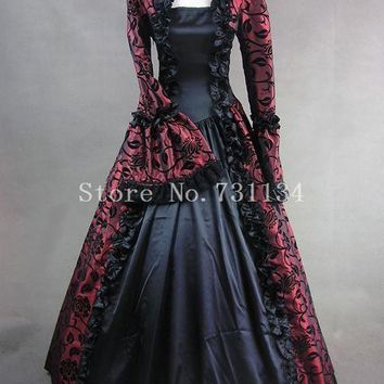 Wine Red Print Brocade Victorian Gothic Wedding Georgian Period Marie Antoinette Dress Ball Gown Vintage Victorian Period Costumes Women