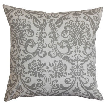 18x18 Gray Damask Print Decorative Pillow Cover - Same Fabric Both Sides