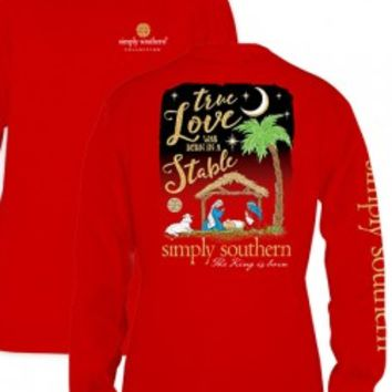 Simply Southern Youth True Love Long Sleeve Tee- Red