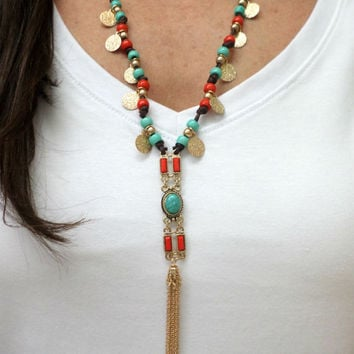 Long Turquoise, Coral and Gold Hammered Disc Beaded Knotted Cord Gold Tassel Pendant Necklace - Turquoise Beaded Gold Coin Tassel Necklace