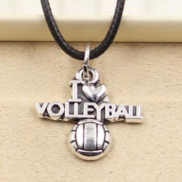 New Fashion Tibetan Silver Pendant i love volleyball Necklace Choker Charm Black Leather Cord Factory Price Handmade jewelry
