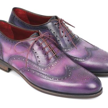 Men's Wingtip Oxfords Purple & Navy Handpainted Calfskin Shoes (ID#743-PURP)