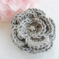 Ready To Ship Beautiful Extra Large Crochet Hair Clip Hair Bow Flower Grey Gray Color