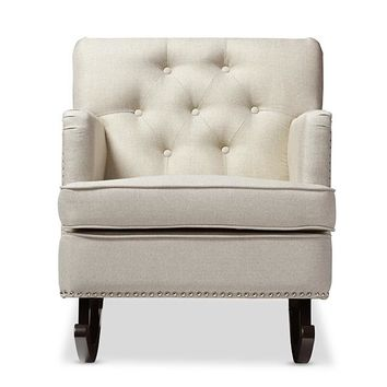 Baxton Studio Bethany Modern and Contemporary Light Beige Fabric Upholstered Button-tufted Rocking Chair Set of 1