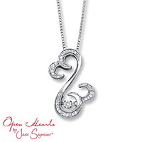 Open Hearts Rhythm 1/10 ct tw Diamonds Sterling Silver Necklace
