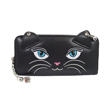 Banned Punk Rock Meow Black Cat Neko with bells Zip Around Wallet