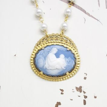 Mother's Day cameo necklace with pearls. Blue mother and child replica cameo and pearl necklace, rosary chain. Handmade in Tennessee