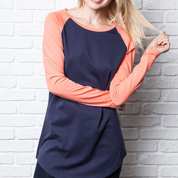 Umgee McKenna Baseball Jersey Tunic Dress: Navy and and Orange