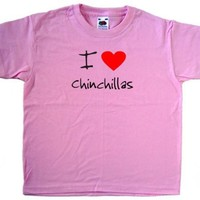 I Love Heart Chinchillas Pink Kids T-Shirt
