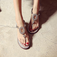 Leather Flat Sexy Rhinestone Summer Sandals [4905657796]