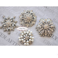 4pcs Rhinestone Brooch Set
