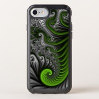 Fantasy World Green And Gray Abstract Fractal Art Speck iPhone Case