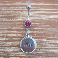 Belly Button Ring - Body Jewelry - Metal Rhinestone Love Medallion with Pink Gem Stone Belly Button Ring