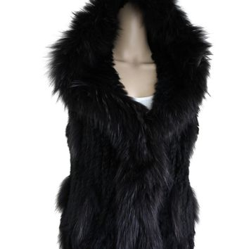 Hooded Women Real Rabbit Fur Knitted Real Raccoon Fur Vest With Hood Gilets Waistcoat