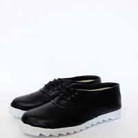 Black Pony Oxfords, White Sawedge sole, vegan