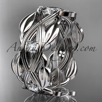 platinum leaf wedding ring, wedding band ADLR259B