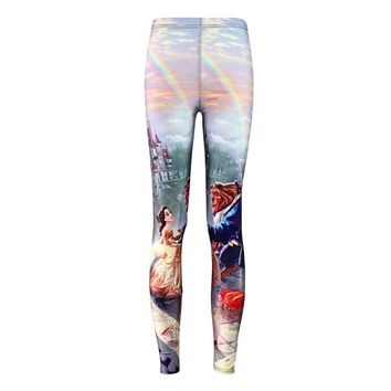 Plus size Summer leggings Hot Women Hot Leggings Digital Print Popular Beauty and the Beast Fitness Sexy LEGGING Drop Ship