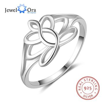 Fashion Jewelry Promise 925 Sterling Silver Ring For Woman Trendy Ring Party Hollow Out Flower Hot Sale 2018 (Jewelora RI103507)